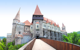Hunedoara Castle. Gothic-Renaissance castle in Hunedoara (Transylvania) . The Hunyad Castle, Castelul Huniazilor or Castelul Corvinestilor, Vajdahunyad vára Royalty Free Stock Photo