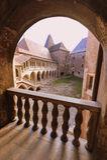 Hunedoara castle: courtyard view from a balcony. View of the interior courtyard from one of the castles balconies royalty free stock photography