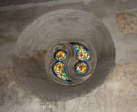 Details from the interior room of the Corvins Castle, stained glass. royalty free stock photo