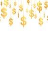 Hung Dollar golden symbols (3d render) Royalty Free Stock Photos
