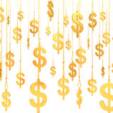 Hung Dollar golden symbols (3d render) Royalty Free Stock Image
