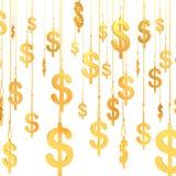 Hung Dollar golden symbols (3d render) Royalty Free Stock Image