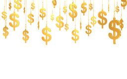 Hung Dollar golden symbols (3d render) Royalty Free Stock Photo