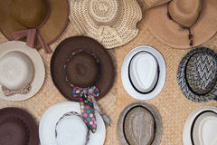 Hung female hats Stock Photos
