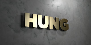 Hung - Gold sign mounted on glossy marble wall  - 3D rendered royalty free stock illustration. This image can be used for an online website banner ad or a Stock Photography