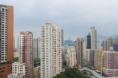 Hung Hom with the apartment. `Tong-lau` in Hong Kong at Hung Hom royalty free stock images