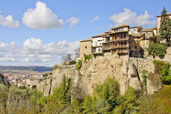 Hung houses of Cuenca atop a cliff, Spain Stock Photos