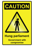 Hung Parliament Hazard Sign. Hung parliament hazard warning information sign isolated on white background Stock Image
