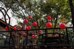 Hung with red lanterns in the open-air teahouse. Stock Images