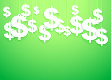 Hung symbols Dollar.  Illustration. Green Background of hung symbols Dollar with space for text. Banking and Money Illustration Royalty Free Stock Photography