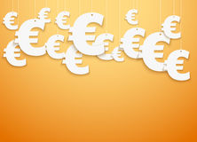 Hung symbols Euro.  Illustration. Bright Background of hung symbols Euro with space for text. Banking and Money Illustration Stock Image