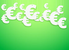 Hung symbols Euro.  Illustration. Bright Background of hung symbols Euro with space for text. Finance Illustration Royalty Free Stock Image