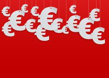 Hung symbols Euro. Vector Illustration. Background of hung symbols Euro with space for text. Vector Illustration, eps10, isolated and editable Stock Photos