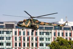 Free Hungarian Air Force Mil Mi-17 701 Transport Helicopter Display Over Danube River In Budapest Downtown Royalty Free Stock Image - 194298346