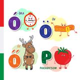 Hungarian alphabet. Alarm, Belt, Roe, Tomato. Vector letters and characters. Royalty Free Stock Photos
