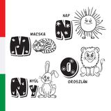 Hungarian alphabet. Cat, Sun, Rabbit, Lion. Vector letters and characters. Stock Photos