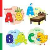 Hungarian alphabet. Pineapple, bed, frog, chicken. Vector letters and characters. Royalty Free Stock Photo