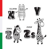 Hungarian alphabet. Xylophone, Zebra, Giraffe. Vector letters and characters. Stock Image
