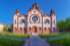 Hungarian Art Nouveau synagogue in Subotica, Serbia. The second largest synagogue in Europe built in 1901-1902 according to the plans of Marcell Komor and royalty free stock photo