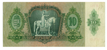 Hungarian banknote at 10 pengo, 1936 year Stock Photo