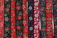 Hungarian belts, painted and embroidered Royalty Free Stock Photography