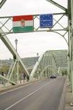 Hungarian border on the bridge Royalty Free Stock Photo