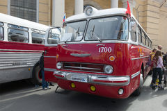 Hungarian bus `Ikarus 55.14 Lux`, 1972 of the 3rd annual exhibition-parade of retro transport Stock Photography