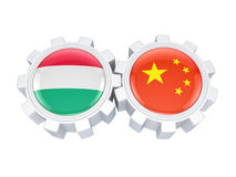 Hungarian and Chinese flags. Royalty Free Stock Image