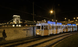 Hungarian Christmas Tram royalty free stock images