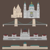 Hungarian City sights in Budapest. Hungary Landmark Travel And Journey Architecture Elements Buda castle, Chain Bridge. Budapest p. Hungarian City sights in Stock Image
