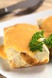 Hungarian Crepa a la Hortobagy. Hungarian-style crepe called Hortobagyi Husos Palacsinta (Crepe a la Hortobagy) filled with meat and served with sauce (Selective Stock Images