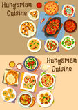 Hungarian cuisine lunch icon set for food design. Hungarian cuisine lunch icon set of vegetable meat stew with sausage and bean, fish and salami salad, paprika Royalty Free Stock Photo
