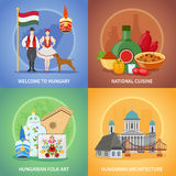 Hungarian Culture Compositions Set. Four hungary flat square compositions set with national cuisine costumes architecture and hungarian folk art images vector Royalty Free Stock Image
