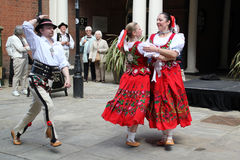 Hungarian dancers in street. Hungarian traditional dancers perfroming at rochester Sweep Festival on Sunday 5 May royalty free stock image