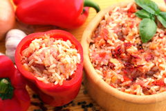 Hungarian delicacy, stuffed red pepper Stock Image