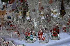 Hungarian design bottles. Handmade Hungarian designed bottles on the table Stock Photography