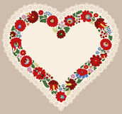 Hungarian embroidery heart frame with lace edge Royalty Free Stock Image