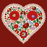 Hungarian embroidery heart with lace edge. Heart made with traditional Hungarian embroidery motifs, from the region of Mezokovesd, with lace edge vector illustration