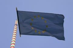Hungarian EU flag. Europien Union flag on Hungarian flagstaff Stock Image