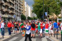 Hungarian fans Stock Photos