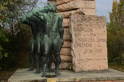 The Hungarian Fighters` in the Spanish International Brigades` Memorial at Memento Park Budapest Hungary. USSR Communist soviet style arts and statue. Memento royalty free stock image