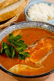 Hungarian fish soup with bread and rice Royalty Free Stock Images