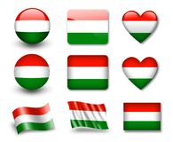 The Hungarian flag. Set of icons and flags. glossy and matte on a white background Royalty Free Stock Photography