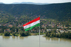 Hungarian flag with beautiful landscape Stock Photo