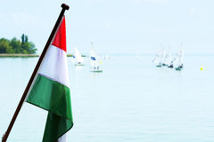 Hungarian flag at Lake Balaton Royalty Free Stock Photography