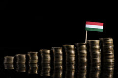 Hungarian flag with lot of coins isolated on black. Background Stock Images