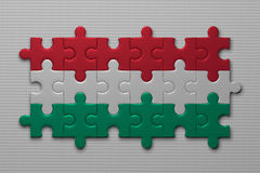 Hungarian flag of puzzle pieces Royalty Free Stock Image