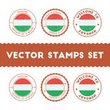 Hungarian flag rubber stamps set. National flags grunge stamps. Country round badges collection Stock Image
