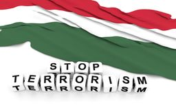 Hungarian flag and text stop terrorism. Stock Photos