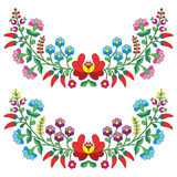 Hungarian floral folk pattern - Kaloscai embroidery with flowers and paprika Royalty Free Stock Images